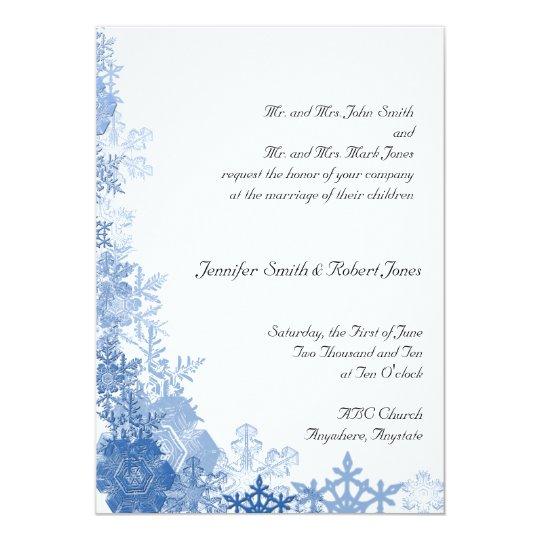 Blue Snowflakes on White Wedding Invitation