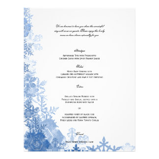 Blue Snowflakes on White Wedding Menu Full Color Flyer