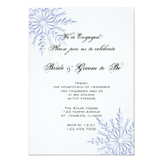 Blue Snowflakes on White Winter Engagement Party Card