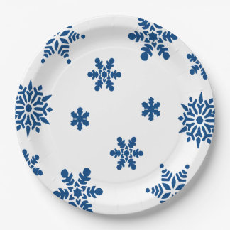 Blue Snowflakes Paper Plates 9 Inch Paper Plate