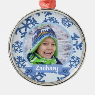 Blue Snowflakes Personalized Keepsake Christmas Ornament
