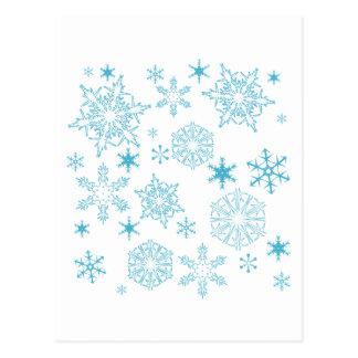 blue snowflakes postcard