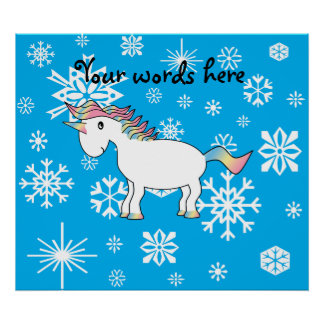 Blue snowflakes unicorn christmas gifts poster
