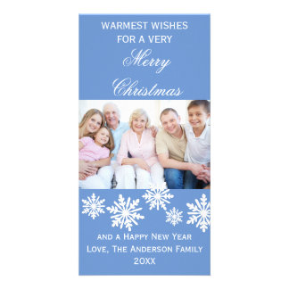 Blue Snowflakes Warmest Wishes Photo - Photo Card