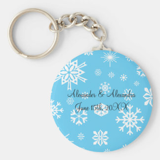 Blue snowflakes wedding favors basic round button key ring