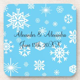 Blue snowflakes wedding favors beverage coasters