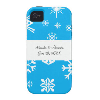 Blue snowflakes wedding favors vibe iPhone 4 case