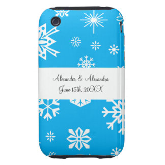 Blue snowflakes wedding favors tough iPhone 3 covers
