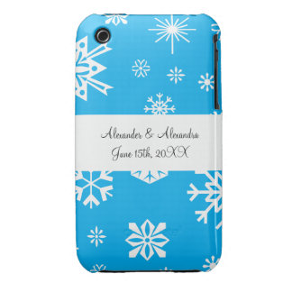 Blue snowflakes wedding favors Case-Mate iPhone 3 cases