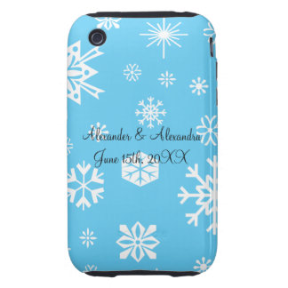 Blue snowflakes wedding favors iPhone 3 tough covers