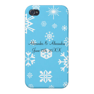 Blue snowflakes wedding favors cases for iPhone 4