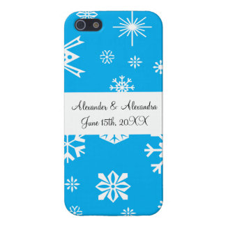 Blue snowflakes wedding favors iPhone 5 case
