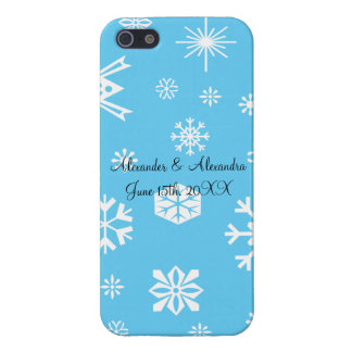 Blue snowflakes wedding favors iPhone 5 covers