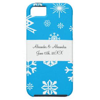 Blue snowflakes wedding favors tough iPhone 5 case