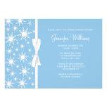 Blue Snowflakes White Bow Winter Bridal Shower Custom Invitation