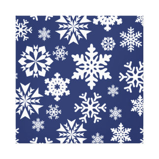 Blue Snowflakes Winter Christmas Holiday Pattern Stretched Canvas Prints