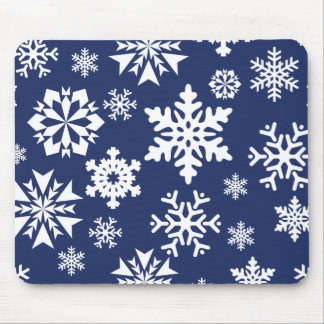 Blue Snowflakes Winter Christmas Holiday Pattern Mouse Pad