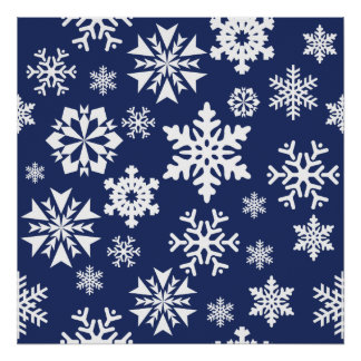 Blue Snowflakes Winter Christmas Holiday Pattern Poster