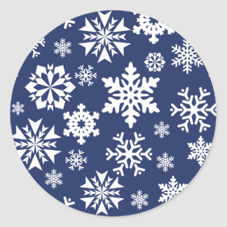 Blue Snowflakes Winter Christmas Holiday Pattern Round Sticker