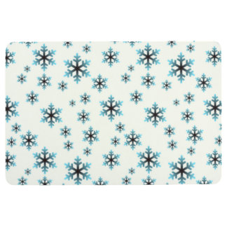 BLUE SNOWFLAKES, Winter & Holiday Design Floor Mat