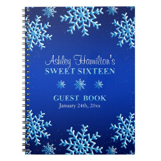 Blue Snowflakes Winter Sweet 16 Guest Book
