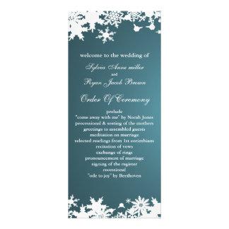 blue snowflakes winter wedding program rack card template