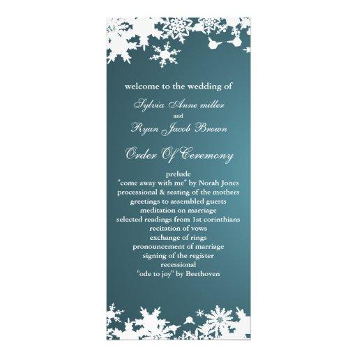 blue snowflakes winter wedding program rack card design