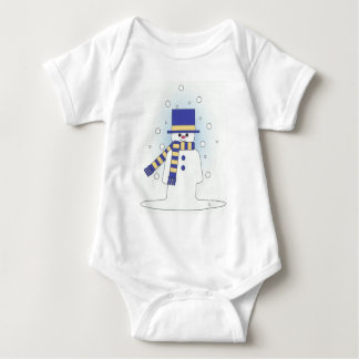 blue snowman baby bodysuit