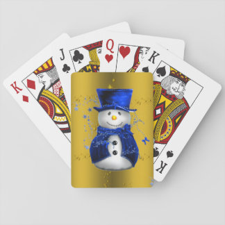 Blue Snowman on Gold Christmas Playing Cards