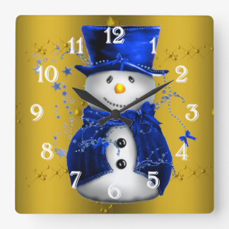 Blue Snowman on Gold Christmas Square Wall Clock