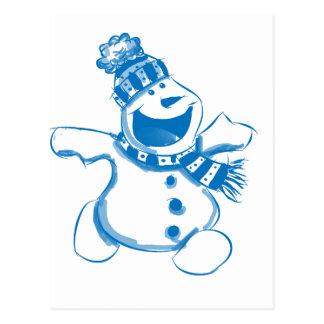 Blue snowman postcard