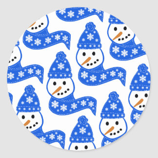Blue Snowmen Stickers