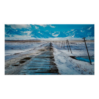 Blue Snowy Mountains from a distance Poster