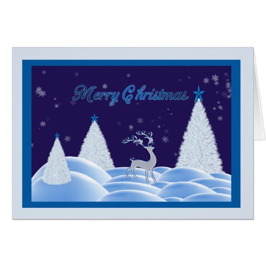 Blue Snowy Night Christmas Card