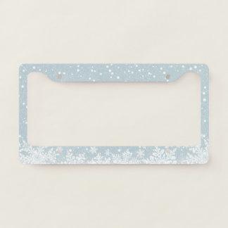 Blue Snowy Winter Design License Plate Frame