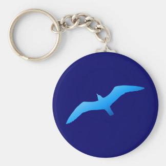 Blue Soaring Gull Basic Round Button Key Ring