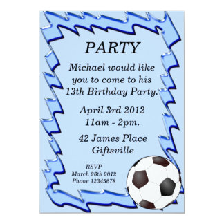Blue Soccer Ball Birthday Party Invitation