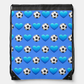 Blue Soccer Ball Emoji Drawstring Bag