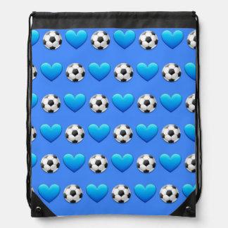 Blue Soccer Ball Emoji Drawstring Bag