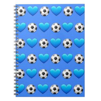 Blue Soccer Ball Emoji Spiral Notebook