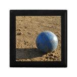 Blue Soccer Ball on Dirt Field Jewelry Box