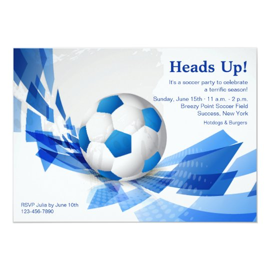 Blue Soccer Ball Party Invitation
