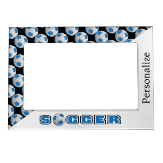 Blue Soccer Ball Player Magnetic Picture Frame