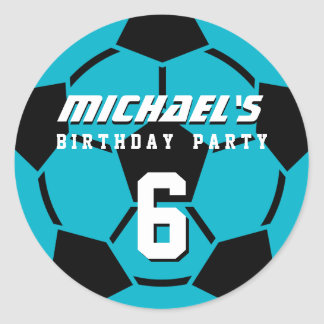 Blue Soccer Ball Sports Birthday Party Stickers