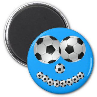 Blue Soccer Smile 6 Cm Round Magnet