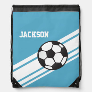 Blue Soccer Stripes Drawstring Bag