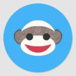 Blue Sock Monkey Round Sticker