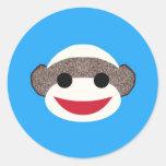 Blue Sock Monkey Sticker