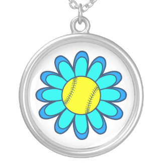Blue Softball Girl Silver Plated Necklace