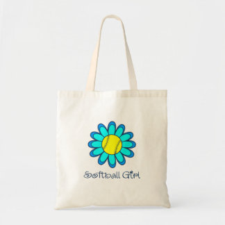 Blue Softball Girl Tote Bag